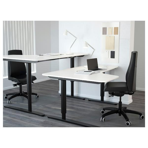 BEKANT Left-hand corner table top, white, 160x110 cm