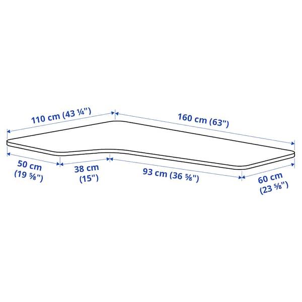 BEKANT Right-hand corner table top, white, 160x110 cm