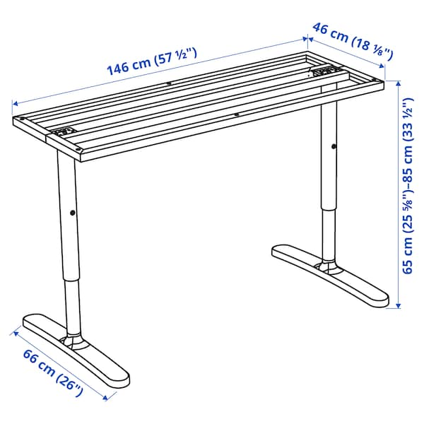 BEKANT underframe for table top white 46 cm 146 cm 160 cm 80 cm 65 cm 85 cm 100 kg
