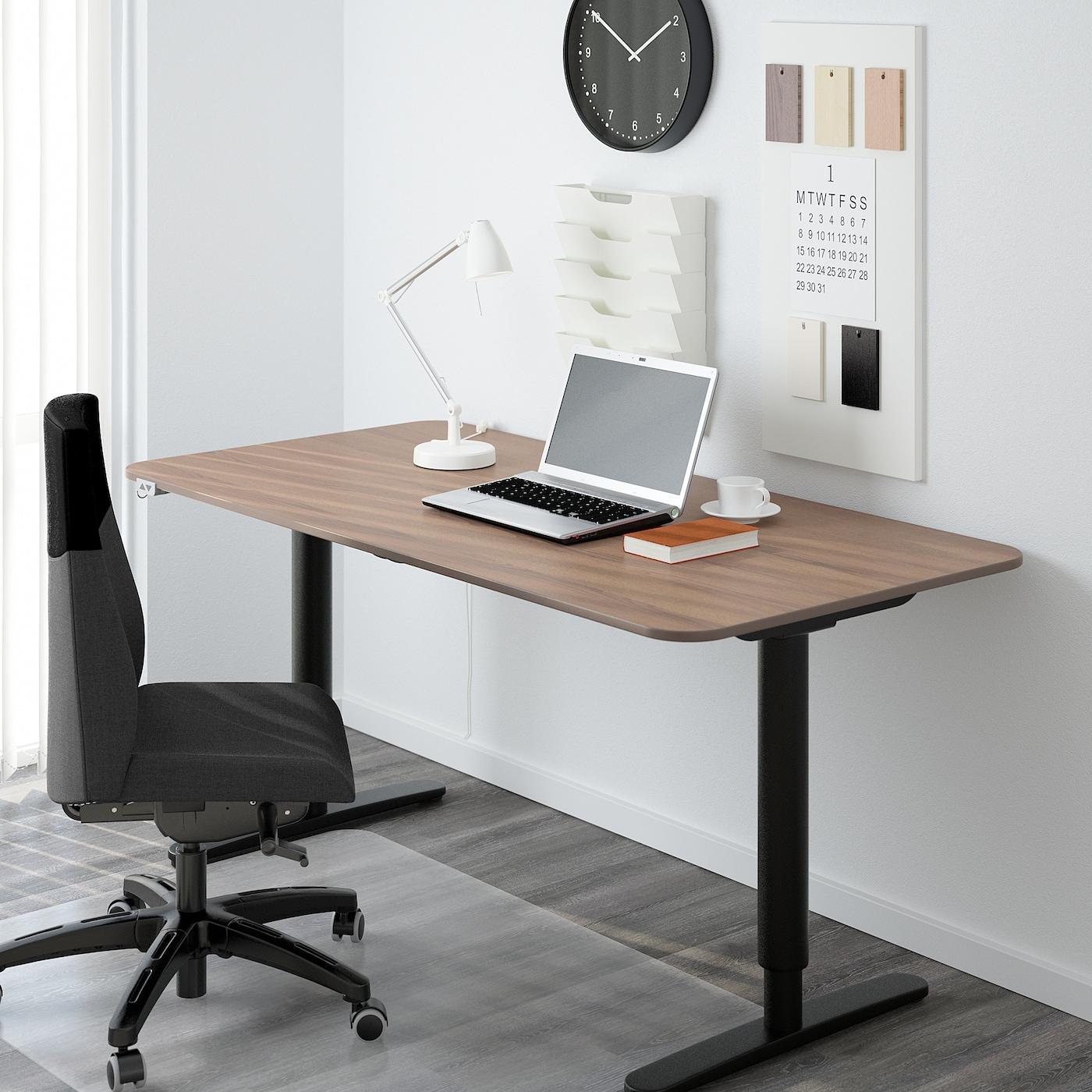 BEKANT Underframe sit/stand f table tp, el - black 38x38 cm