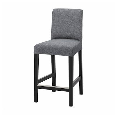 BERGMUND Bar stool with backrest, black/Gunnared medium grey, 62 cm
