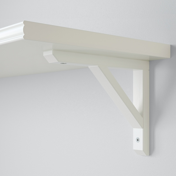 BERGSHULT / SANDSHULT رف حائط, أبيض/حور مصبوغ أبيض, 120x30 سم