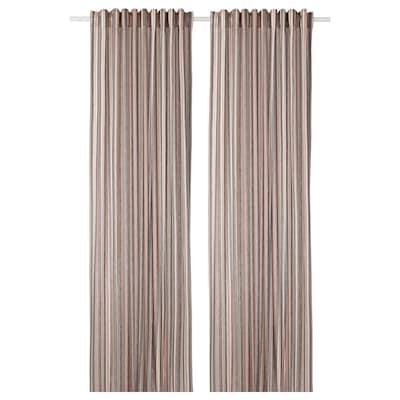 BERGSKRABBA Curtains, 1 pair, grey/red striped, 145x300 cm