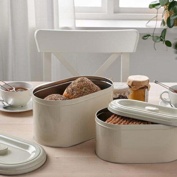 BERÖMLIG Tin with lid set of 2, beige