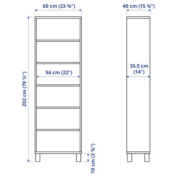 BESTÅ Cabinet unit, white stained oak effect, 60x40x202 cm