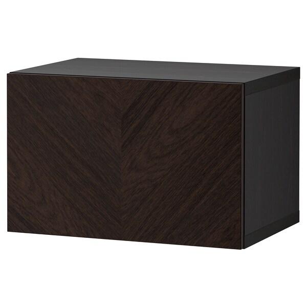 BESTÅ Shelf unit with door, black-brown Hedeviken/dark brown stained oak veneer, 60x42x38 cm