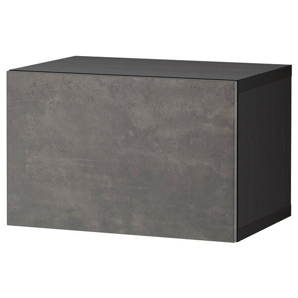 BESTÅ Shelf unit with door, black-brown/Kallviken dark grey, 60x42x38 cm