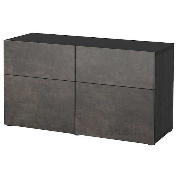 BESTÅ storage combination w doors/drawers black-brown Kallviken/dark grey concrete effect 120 cm 42 cm 65 cm