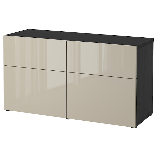 BESTÅ storage combination w doors/drawers black-brown/Selsviken high-gloss/beige 120 cm 42 cm 65 cm