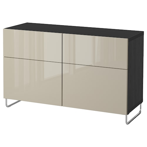 BESTÅ storage combination w doors/drawers black-brown/Selsviken/Sularp high-gloss/beige 120 cm 40 cm 74 cm