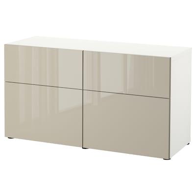 BESTÅ Storage combination w doors/drawers, white/Selsviken high-gloss/beige, 120x42x65 cm