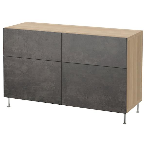 BESTÅ Storage combination w doors/drawers, white stained oak effect Kallviken/Stallarp/dark grey concrete effect, 120x40x74 cm