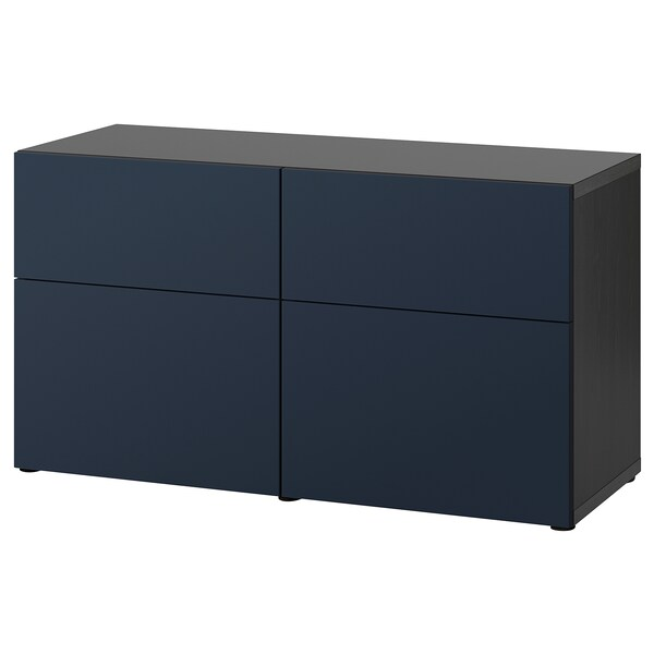 BESTÅ storage combination w doors/drawers black-brown/Notviken blue 120 cm 42 cm 65 cm