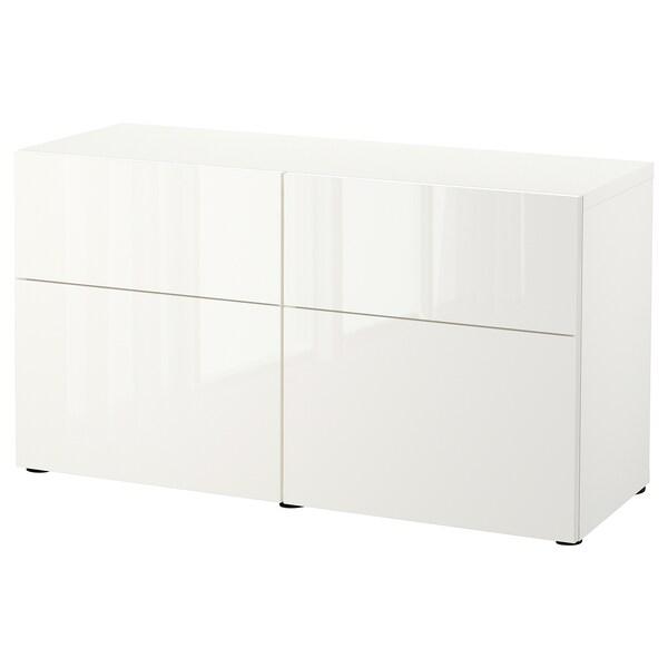 BESTÅ storage combination w doors/drawers white/Selsviken high-gloss/white 120 cm 42 cm 65 cm