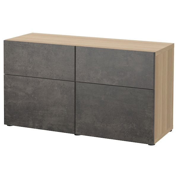 BESTÅ storage combination w doors/drawers white stained oak effect Kallviken/dark grey concrete effect 120 cm 42 cm 65 cm