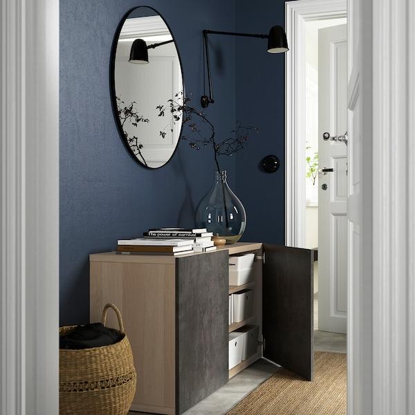 BESTÅ Storage combination with doors, white stained oak effect Kallviken/dark grey concrete effect, 120x42x65 cm