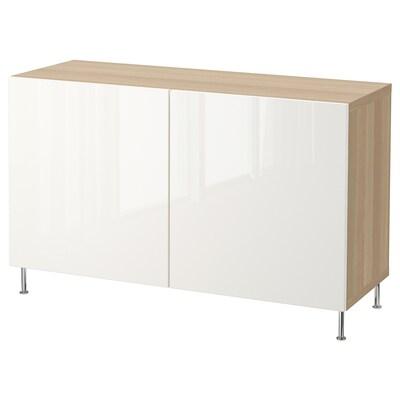 BESTÅ Storage combination with doors, white stained oak effect/Selsviken/Stallarp high-gloss/white, 120x40x74 cm