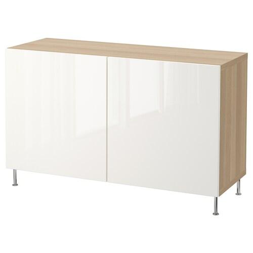 BESTÅ storage combination with doors white stained oak effect/Selsviken/Stallarp high-gloss/white 120 cm 40 cm 74 cm