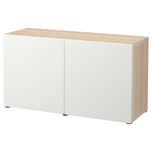 BESTÅ storage combination with doors white stained oak effect/Laxviken white 120 cm 42 cm 65 cm