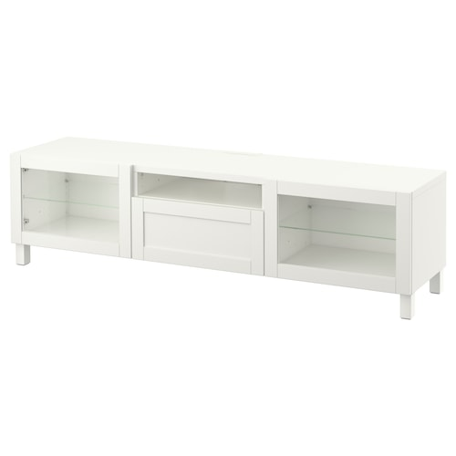BESTÅ TV bench white/Hanviken/Stubbarp white clear glass 180 cm 42 cm 48 cm 50 kg
