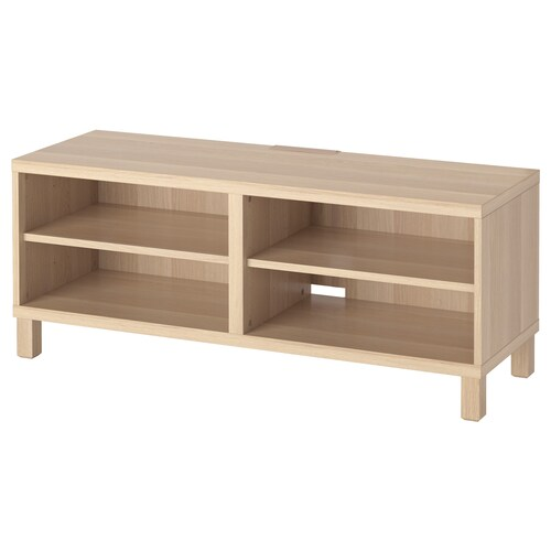 BESTÅ TV bench white stained oak effect 120 cm 40 cm 48 cm 10 kg