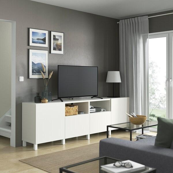 BESTÅ TV bench with doors and drawers, white/Lappviken/Stubbarp white, 240x42x74 cm