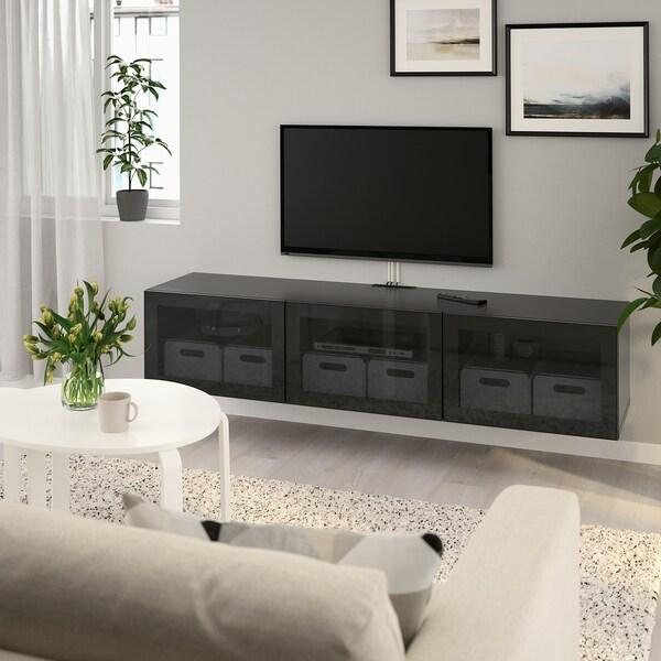 BESTÅ طاولة تلفزيون مع أبواب, أسود-بني/Glassvik زجاج مدخّن, 180x42x38 سم