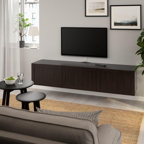 BESTÅ طاولة تلفزيون مع أبواب, أسود-بني/Hanviken أسود-بني, 180x42x38 سم