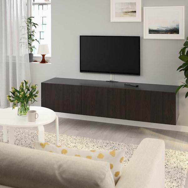 BESTÅ طاولة تلفزيون مع أبواب, أسود-بني/Lappviken أسود-بني, 180x42x38 سم