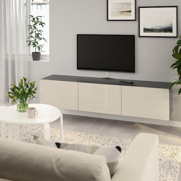 Design Meubels Outlet.Besta Tv Bench With Doors Black Brown Selsviken High Gloss