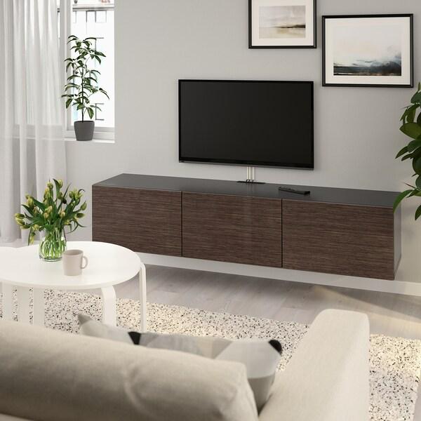 BESTÅ طاولة تلفزيون مع أبواب, أسود-بني/Selsviken بني/لامع, 180x42x38 سم
