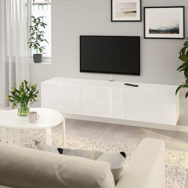 BESTÅ طاولة تلفزيون مع أبواب, أبيض/Selsviken أبيض/لامع, 180x42x38 سم
