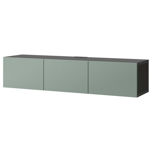 BESTÅ TV bench with doors black-brown/Notviken grey-green 180 cm 42 cm 38 cm