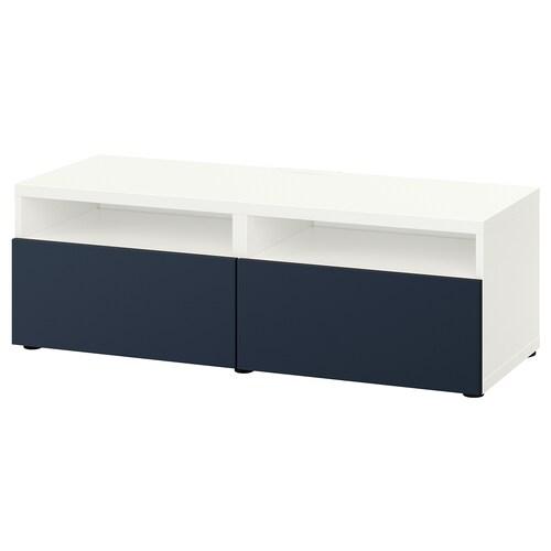 BESTÅ TV bench with drawers white/Notviken blue 120 cm 42 cm 39 cm 50 kg