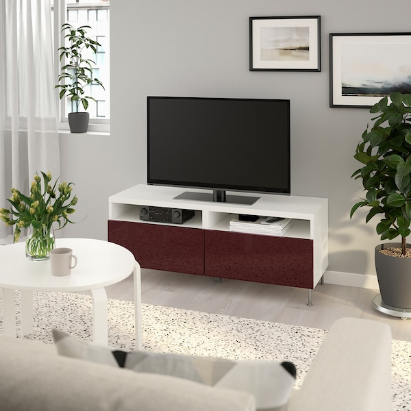 BESTÅ TV bench with drawers, white Selsviken/Stallarp/high-gloss dark red-brown, 120x42x48 cm