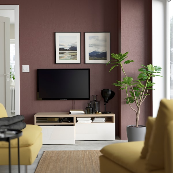 BESTÅ TV bench with drawers, white stained oak effect/Selsviken high-gloss/white, 120x42x39 cm