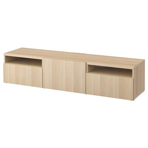 BESTÅ TV bench white stained oak effect/Lappviken white stained oak effect 180 cm 42 cm 39 cm 50 kg