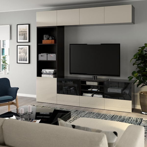 BESTÅ TV storage combination/glass doors black-brown/Selsviken high-gloss/beige smoked glass 240 cm 40 cm 230 cm