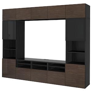 Colour: Black-brown/selsviken high-gloss/brown smoked glass.