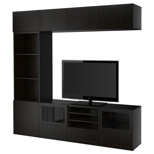 BESTÅ TV storage combination/glass doors Hanviken/Sindvik black-brown clear glass 240 cm 40 cm 230 cm