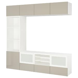 Colour: White/selsviken high-gloss/beige frosted glass.