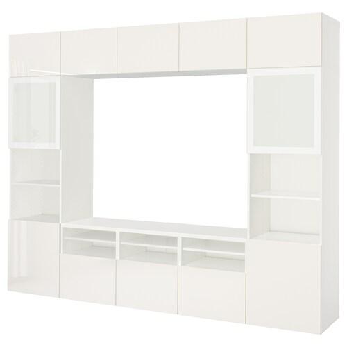 BESTÅ TV storage combination/glass doors white/Selsviken high-gloss/white frosted glass 300 cm 40 cm 230 cm