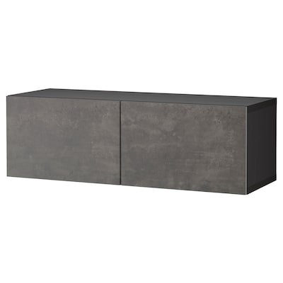 BESTÅ Wall-mounted cabinet combination, black-brown Kallviken/dark grey concrete effect, 120x42x38 cm