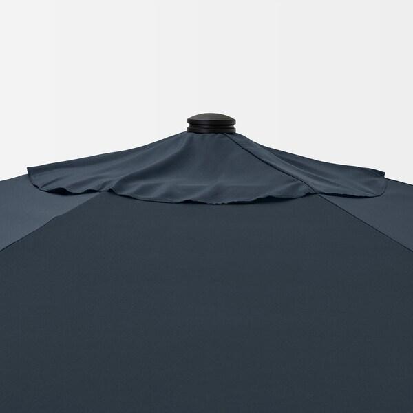 BETSÖ / LINDÖJA Parasol, brown wood effect/dark blue, 300 cm