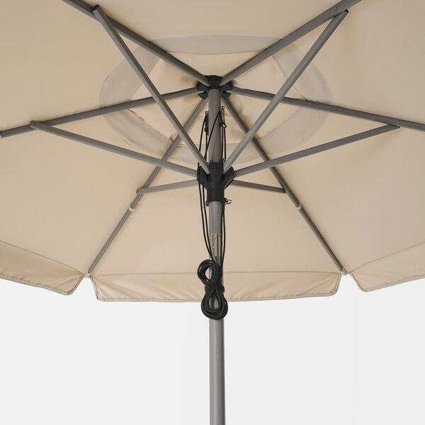 BETSÖ / VÅRHOLMEN Parasol with base, grey wood effect beige/Grytö, 300 cm