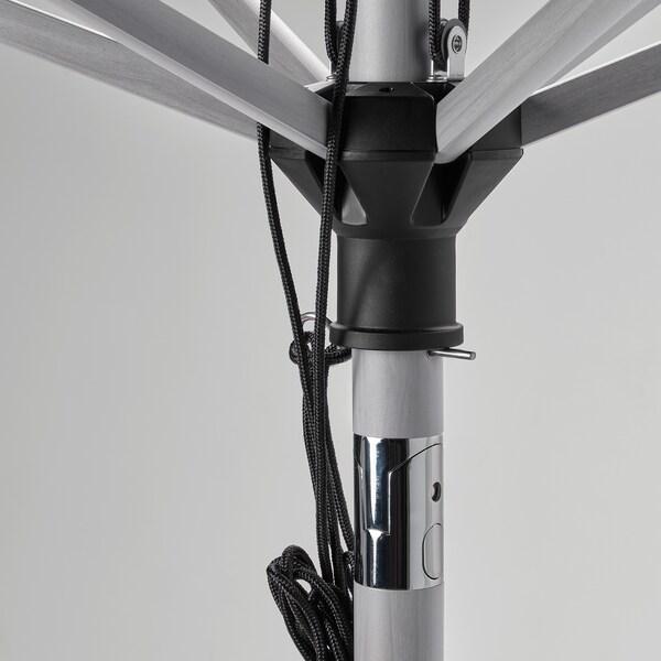 BETSÖ / VÅRHOLMEN مظلة نزهة مع قاعدة, مظهر الخشب رمادي بيج/Huvön, 300 سم