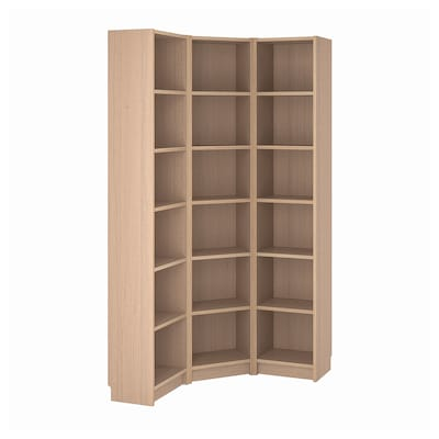 BILLY Bookcase combination/crnr solution, white stained oak veneer, 95/95x28x202 cm