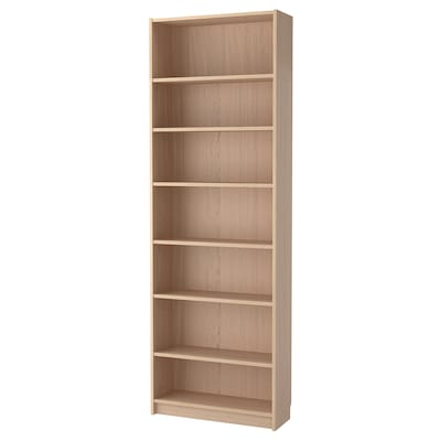 BILLY Bookcase with height extension unit, white stained oak veneer, 80x28x237 cm