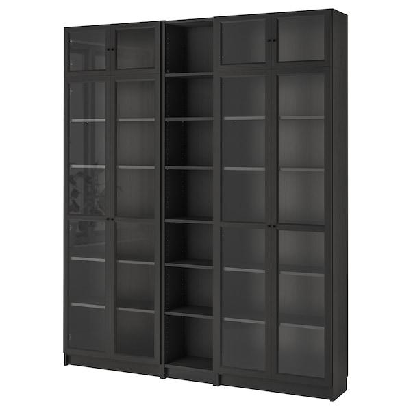 BILLY / OXBERG مكتبة, أسود-بني, 200x30x237 سم