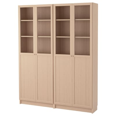 BILLY / OXBERG Bookcase combination with doors, white stained oak veneer/glass, 160x30x202 cm
